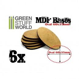 Socles OVALES MDF 60x35mm x6
